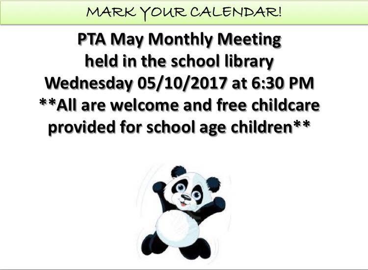 MAY PTA MEETING TONIGHT 5/10/2017 @ 6:30 PM | Spencer School PTA